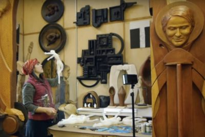 Susan Clinard, sculptor, creating a work for Corsair, new apartments in New Haven.