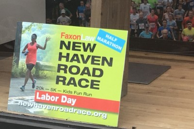 Shop display for the New Haven Road Race, a running event near Corsair, luxury apartments for rent in New Haven