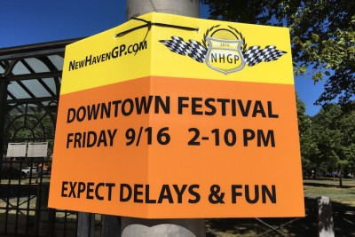 A sign for the New Haven Grand Prix, one of many fun things happening in September in New Haven near Corsair, new luxury apartments.