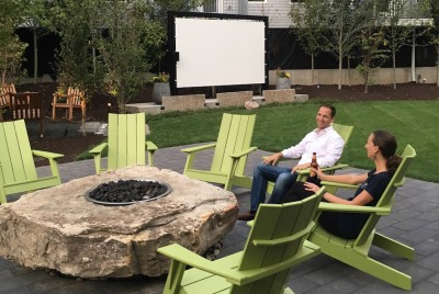 Enjoying the patio at Corsair, new luxury apartments in New Haven.