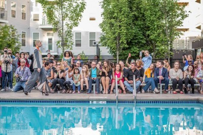 At model walks by the pool at a runway show by fashion designer Neville Wisdom at Corsair, a New Haven apartment building. Photo: Daniel Eugene, Studio Feruvius.